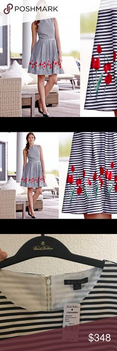 New Brooks Brothers striped dress with tulips New with tags $499 Brooks Brothers striped dress with tulips. Size 14. Amazing quality and beautiful look. Brooks Brothers Dresses Midi