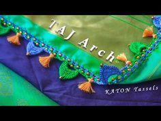 DIY: Beautiful TAJ Arch Crochet using 10 Strands of silk threads. This Amazing Design is inspired by the Great Mughal Architecture TAJ MAHAL Dome shape. Saree Kuchu New Designs, Saree Tassels Designs, Silk Saree Blouse Designs, Fancy Blouse Designs, Crochet Flower Tutorial, Crochet Flowers, Rangoli Designs Peacock, Tatting Necklace, Simple Sarees