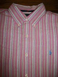 Ralph Lauren Classic Fit Men's Size L Long Sleeve Button Front Shirt Pony Logo