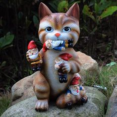 GARDEN GNOME STATUE -Cat Massacre-Funny Gnomes Sculpture Figurines Art Decor