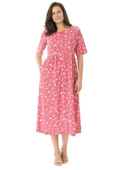 Petite dress with button front, empire waist by Only Necessities®