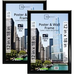 mainstays 12x18 trendsetter poster and picture frame black set of 2