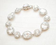 CZ Bridal Bracelet Round Cubic Zirconia by SarahWalshBridal
