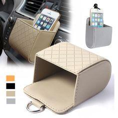 Car Accessories Air PU Box Organizer Phone Pocket Pouch Vehicle Bag Holder