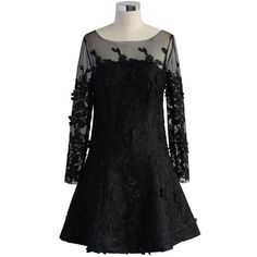 Chicwish Frozen Floral Mesh Dress in Black ($68) ❤ liked on Polyvore featuring dresses, black, floral cocktail dresses, mesh cocktail dress, blossom dress, macrame dress and flower printed dress