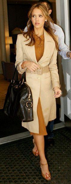 Jessica Alba in a camel trench and creme caramel dress. ohhh la la!