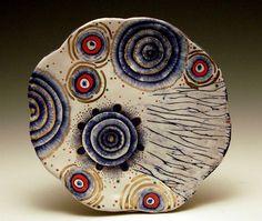 "Liz Quackenbush, Lunch Plate, 2007, terracotta, majolica, lusters, glass enamel, cone 04, 8""Hx8""Wx1.25""D"