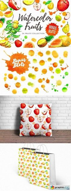 Watercolor Fruits  stock images