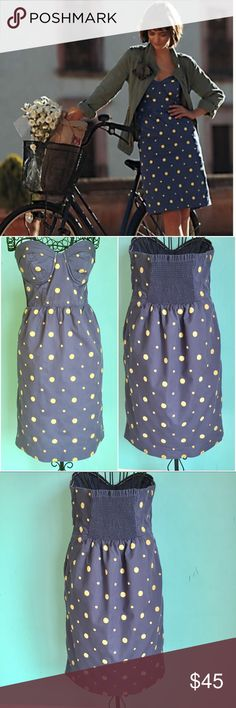 Anthropologie Sun Dot Dress by Floreat Size 10 Up for sale beautiful Anthropologie strapless summer dress. Sweetheart Neckline is so romantic. It is in very good condition, has 2 tiny spot with fading under the left bust and next to left pocket. I took photos up close to actually see it. It is not noticeable at all when wearing it. Size 10.  Check out my closet, bundle and give me your offer! Anthropologie Dresses Strapless