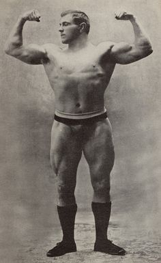 old timey strongman   In all honesty, this looks more natural compared to the steroid driven weight lifters we see now.