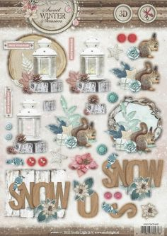 Stansvel 3D Sweet winter | Blue jay and squirrel