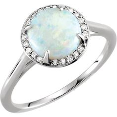 6x5mm Oval Shaped Lab Opal Solid .925 Sterling Silver Rhodium-Plated 6 - 1.75mm Cubic Zirconia Accent Stones