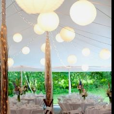 Lanterns in a pole tent
