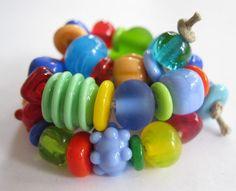 50 Handmade Lampwork Beads SRA Bright Carnival Mix