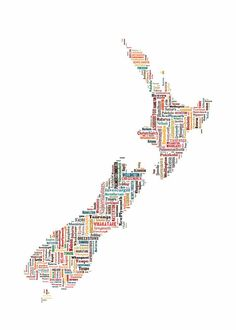 New Zealand Map Typography Map Color Poster Print Text Map Maori Tattoos, Irezumi Tattoos, Thai Tattoo, Map Of New Zealand, Maori Art, Kiwiana, Poster Colour, Home Pictures, Graphic Illustration