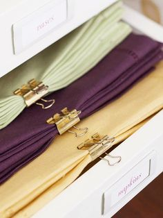 Separate in Style ___ Use BiNDeR CLiPS from your home office & use the handy helpers to hold matching napkins together. When it's time to dress the table, you can grab the color & number of napkins you need without a frantic search.