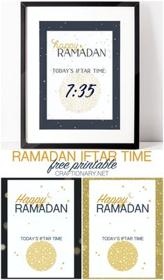 Happy Ramadan iftar time printable you can dry erase - Craftionary Eid Crafts, Ramadan Crafts, Ramadan Decorations, Ramadan Iftar Time, Ramadan Mubarak, Recipe Ratings, Craft Activities, Stars And Moon, Free Printables