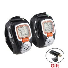 IMAGE® 1 Pair Two Way Radio Freetalker Walkie Talkie Wrist Watch For Outdoor Sport Travelling - Back Light Display With USB SD Card Reader