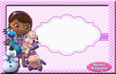 "Convites Digitais Simples: kit de aniversário ""doutora brinquedos"", cone para guloseimas, convite, rótulos, etc..."