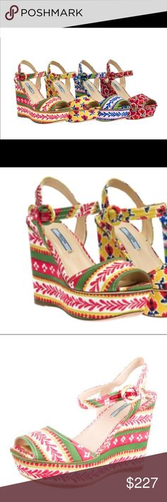 """PRADA Le Voyageur Ethnic Print Wedge Sandals 9 Authentic Prada La Voyager ethnic printed fabric platform wedge sandals. Size Euro 40 fits a US size 9. Retail price $749. Buckle closure at ankle strap and covered heels. Colors are Pink / Red, Green, Cream and Gold / Yellow. All leather sole and insole.  Heels: 5"""" Platforms: 1.5"""" Condition: Amazing condition, only worn once! Faint scuffing at sole; slight wear at insole. No trades please 💕 Prada Shoes Wedges"""