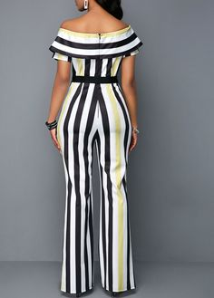 Striped off The Shoulder Overlay High Waist Jumpsuit African Print Jumpsuit, African Dress, Latest African Fashion Dresses, One Piece Outfit, Striped Jumpsuit, Work Attire, Jumpsuits For Women, Pretty Outfits, Rompers