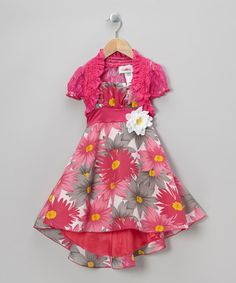 Take a look at this Pink Floral Dress & Lace Shrug - Toddler & Girls by Citlali's Choice on #zulily today!