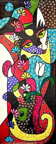 Sedef Yılmabaşar Ertugan - would make a great tattoo Wal Art, Cat Quilt, Cat Colors, Arte Pop, Cat Crafts, Cat Drawing, Crazy Cats, Love Art, Cats And Kittens