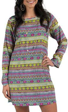 Wrangler Multicolored Aztec Print Bell Sleeve Dress