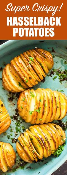 Crispy Hasselback Potatoes! Vertical slices and an extra-long roast in the oven makes these potatoes both beautiful and delicious. So many crispy edges! Perfect holiday side dish. #HolidaySide #Potatoes #Hasselback #BakedPotato