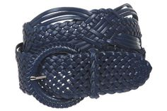 """2"""" (50 mm) Genuine Leather Braided Woven Belt Color: Navy Blue Size: M/L - 41 END-TO-END beltiscool. $22.74. Save 13% Off!"""