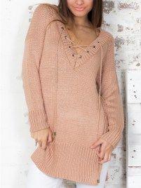 Pink Lace Up Embellished V Neck Split Sweater
