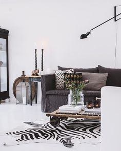 Living Room Decoration Ideas For The Black And White Lovers – Home Decor Crew Cafe Interior, Interior Walls, Living Room Interior, Interior Design Living Room, Living Room Decor, Living Spaces, Zebra Living Room, Shabby Chic Furniture, Furniture Decor