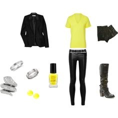 """A look inspired by Adam Lambert's performance of """"Never Close Our Eyes"""" on American Idol 2012 - http://stylenews.peoplestylewatch.com/2012/05/18/adam-lambert-hairstyles-2012/ - The yellow and black is reminiscent of his new CD, """"Trespassing,"""" which is all in a yellow and black theme."""