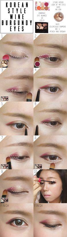 Korean Ulzzang Burgundy Makeup Fall Tutorial Pictorial
