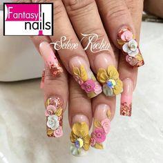 3d Nail Designs, Colorful Nail Designs, Acrylic Nail Tips, Long Acrylic Nails, Gold Glitter Nail Polish, Curved Nails, Exotic Nails, 3d Nails, Gorgeous Nails