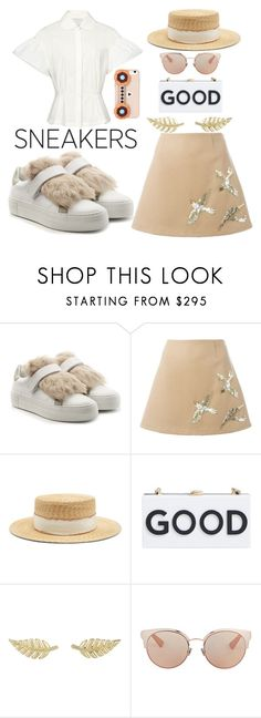 """""""casual look with white sneakers 2"""" by imariayang ❤ liked on Polyvore featuring Moncler, RED Valentino, Filù Hats, Milly, Jennifer Meyer Jewelry, Christian Dior, Fendi, champagne and whitesneakers"""