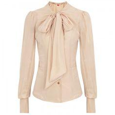 Vivienne Westwood nude silk bow top.
