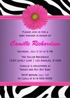 purple and pink zebra girl baby shower invitation                                                                                                                                                      More