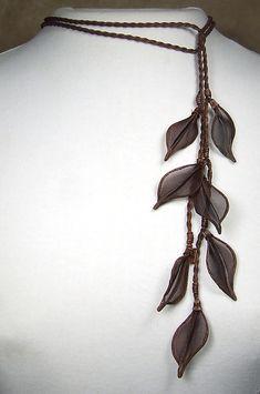Leaf Lariat: Sarah Cavender: Metal Necklace - Artful Home
