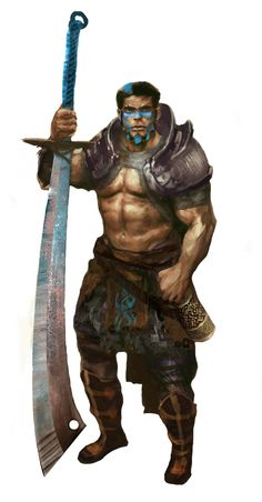 Male human (psychic warrior from 3.5E?) with oversized falchion which might be best modelled as a fullblade.