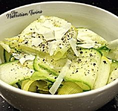 Lemon Zucchini Linguini | Only 46 Calories | Satisfies Pasta Craving without making you feel heavy | Lemon & Parmesan add fabulous flavor to the dish | For MORE RECIPES please SIGN UP for our FREE NEWSLETTER NutritionTwins.com