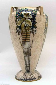Art Nouveau Decorated Porcelain Amphora Vase.