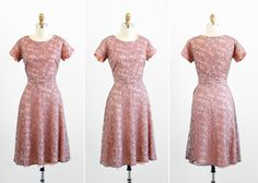 1940s dress / 40s dress / Pink Lace Dress with by RococoVintage, $168.00