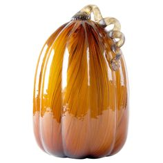 Glass Pumpkin Brown and Gold