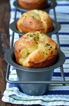 Gruyere Chive Popovers, via justataste. It's so exciting to see popovers rise sky-high in the oven! This recipe is definitely yummy, and I've even made it enough times to justify the $20 for my own popover pan, but to tell the truth they are slightly eggy for my taste -- if I had to serve airy cheese bread for dinner, I'd rather go with gougeres.