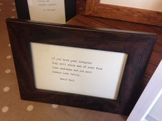 Rustic dark wood effect frame with hand-typed Roald Dahl OR quote of your choice