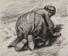 Peasant Woman, Kneeling, Seen from the Back Nuenen: 1885 (Oslo, Nasjonalgalleriet) by Vincent Van Gogh Van Gogh Drawings, Van Gogh Paintings, Ink Pen Drawings, Drawing Sketches, Artist Van Gogh, Van Gogh Art, Art Van, Vincent Van Gogh, Desenhos Van Gogh