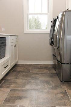 Dark Gray And Tan Tile Laundry Room Floor Tile Floor Patio