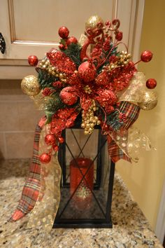 Elegant Reindeer And Poinsettia Lantern Swag by kristenscreations, $39.50