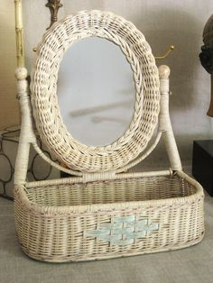 Vintage Basket with Mirror Cottage Style...soon to be hanging by my front door to hold the day's mail and for that quick peak to make sure we're smiling before heading out the door...Love it!
